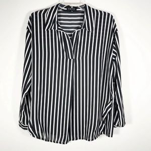 T.I.M.I.N.G. Blouse Blk White Stripes Career Wear